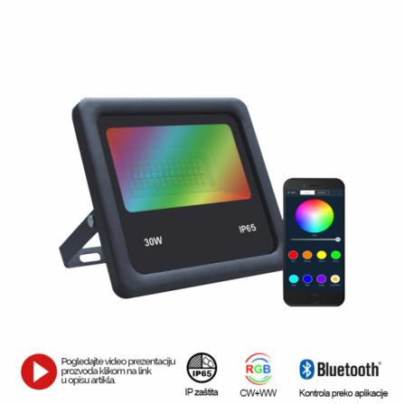 LED REFLEKTOR BR-FL30W-04AZ CRNI RGB/WW/CW BLUETOOTH